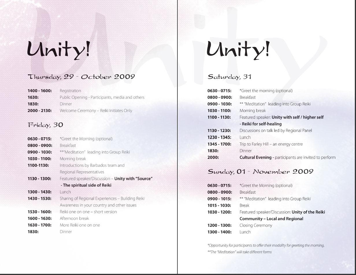 Reiki Gathering 2009 Programme