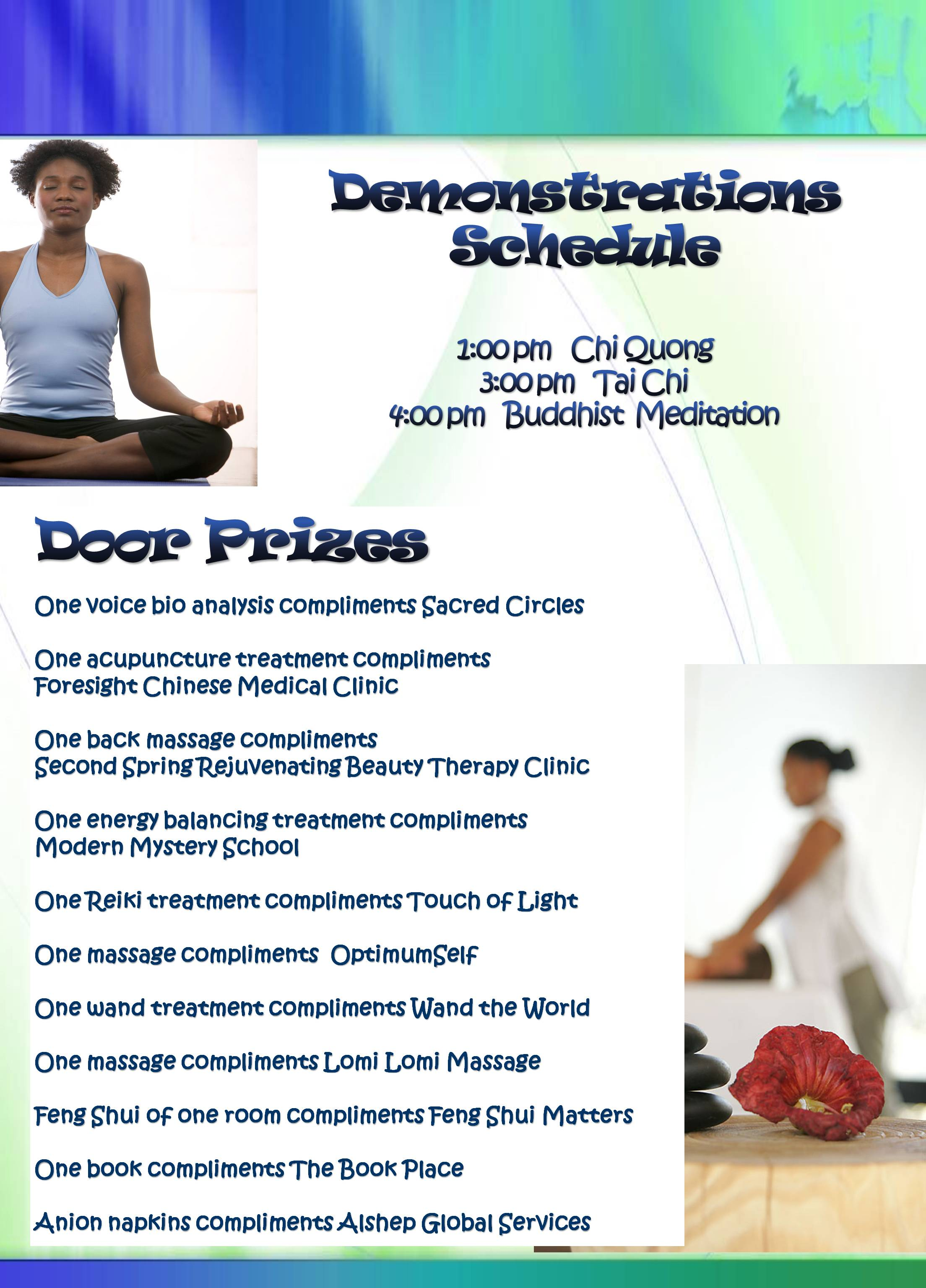 Demonstration Schedule – Complementary Health Day 2010