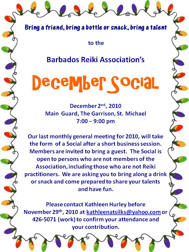 Invitation to our December 2010 Social