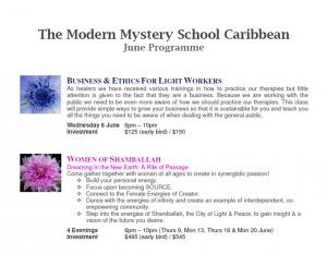 Modern Mystery School Caribbean June 2011 programme