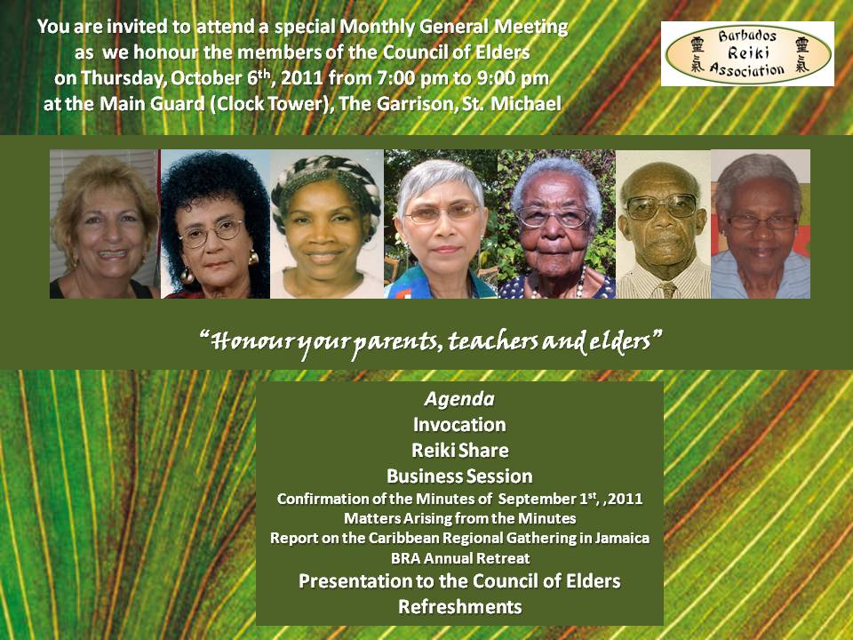 Monthly General Meeting – October 2011