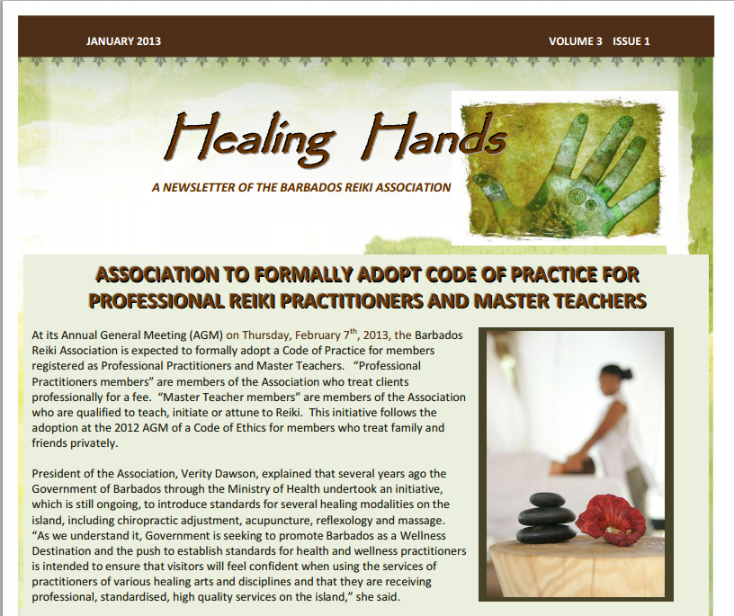 Healing Hands Newsletter January 2013