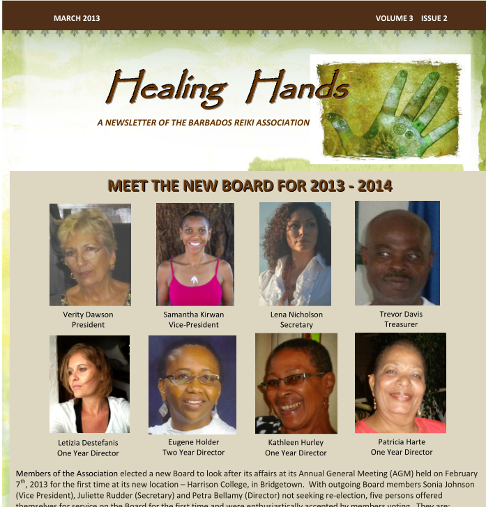 Healing Hands Newsletter March 2013