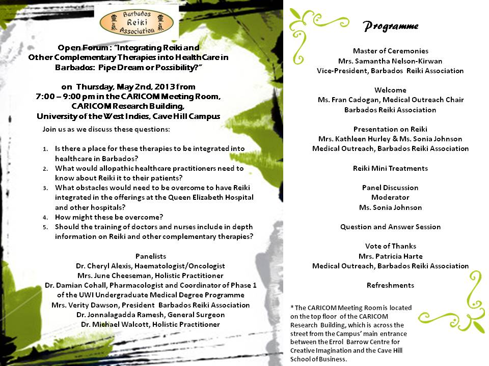 Open Forum on Reiki in Medicine – May 2nd 2013 – Programme