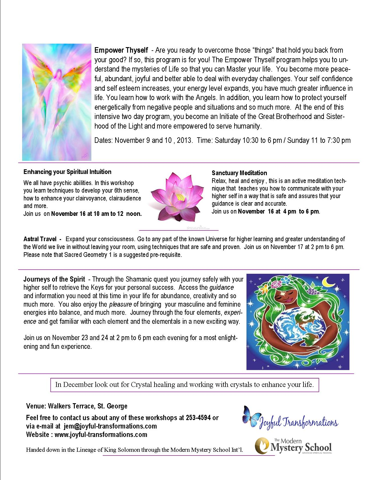 Empower Thyself and November Workshops