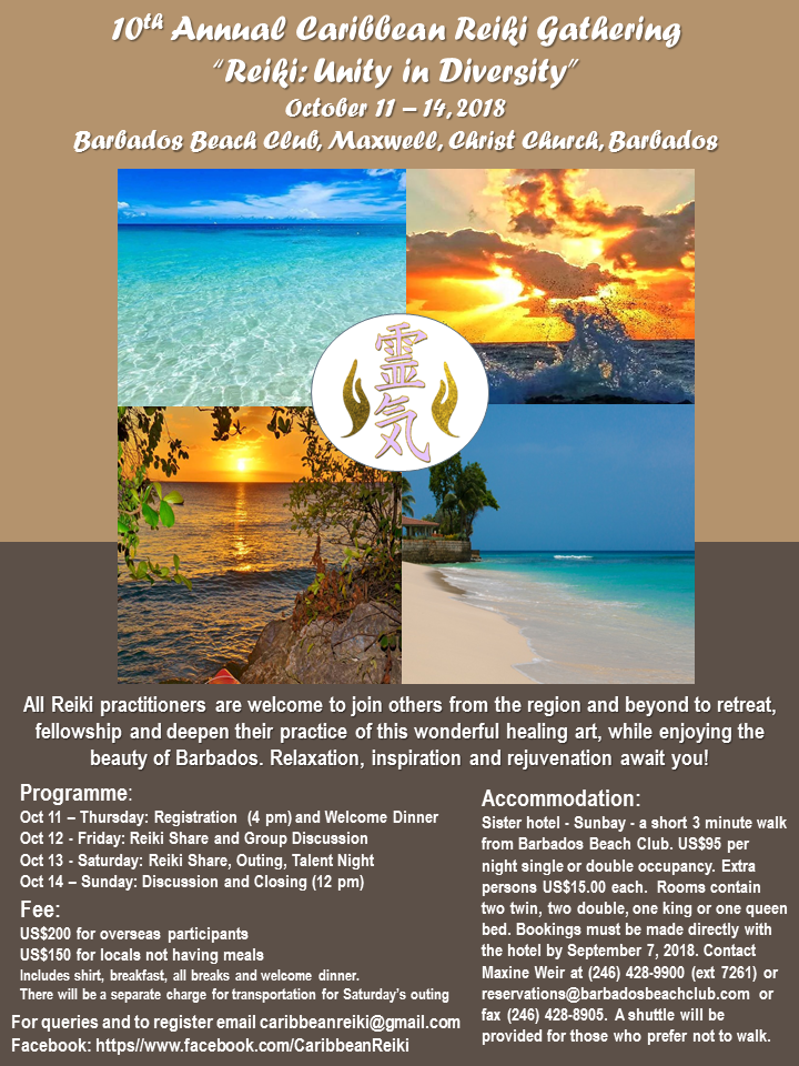 10th Annual Caribbean Reiki Gathering – Barbados, 2018